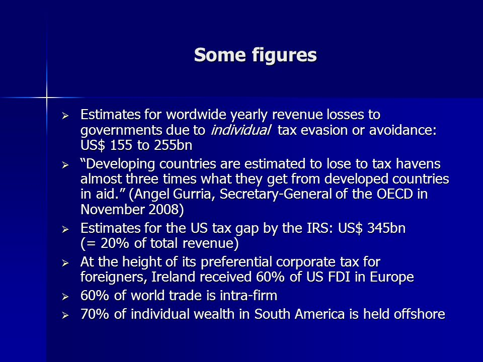 "Some figures  Estimates for wordwide yearly revenue losses to governments due to individual tax evasion or avoidance: US$ 155 to 255bn  ""Developing"