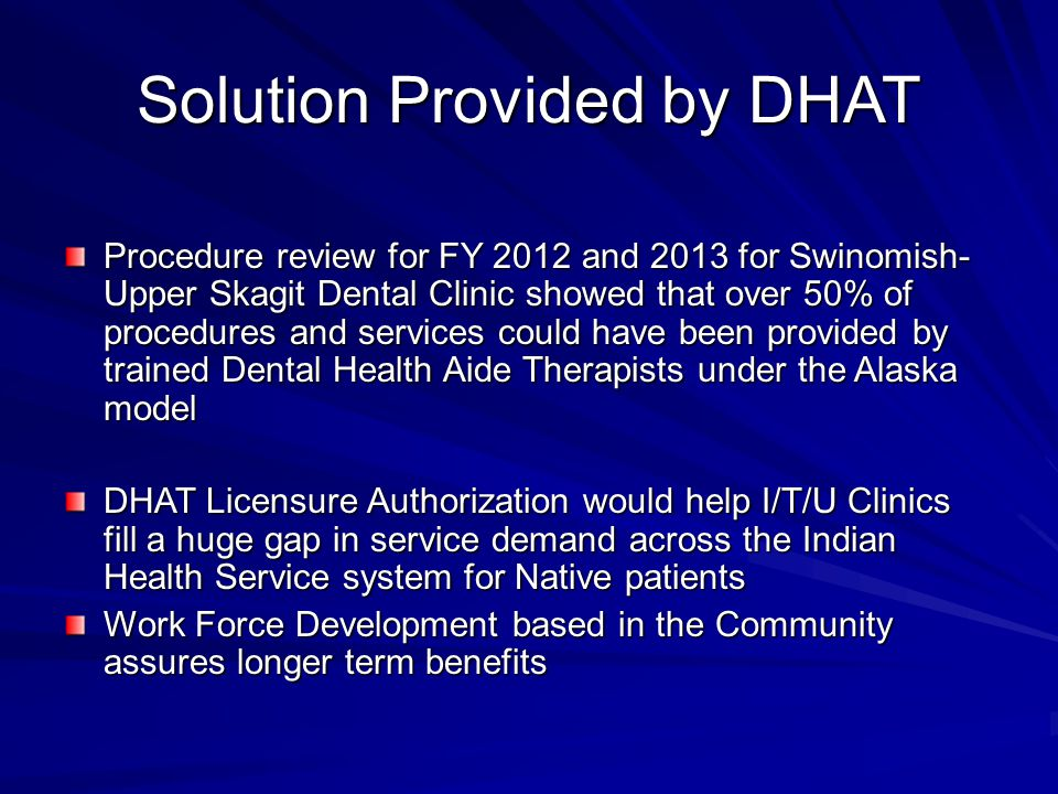 Solution Provided by DHAT Procedure review for FY 2012 and 2013 for Swinomish- Upper Skagit Dental Clinic showed that over 50% of procedures and servi