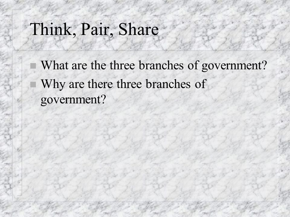 Think, Pair, Share n What are the three branches of government? n Why are there three branches of government?