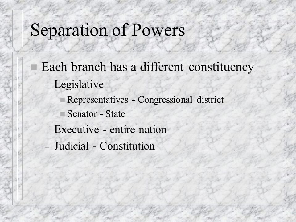 Separation of Powers n Each branch has a different constituency – Legislative n Representatives - Congressional district n Senator - State – Executive