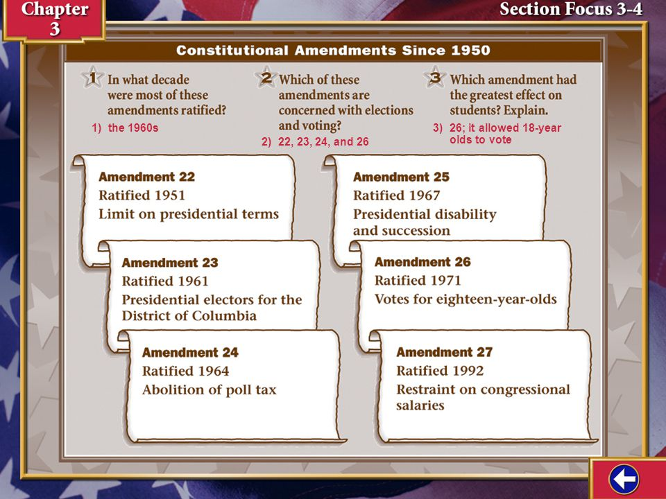 Section Focus 3 1) Amendments 15 and 19 gave all races and women the right to vote. 2) the 19 th Amendment 3) the 13 th Amendment to abolish slavery t