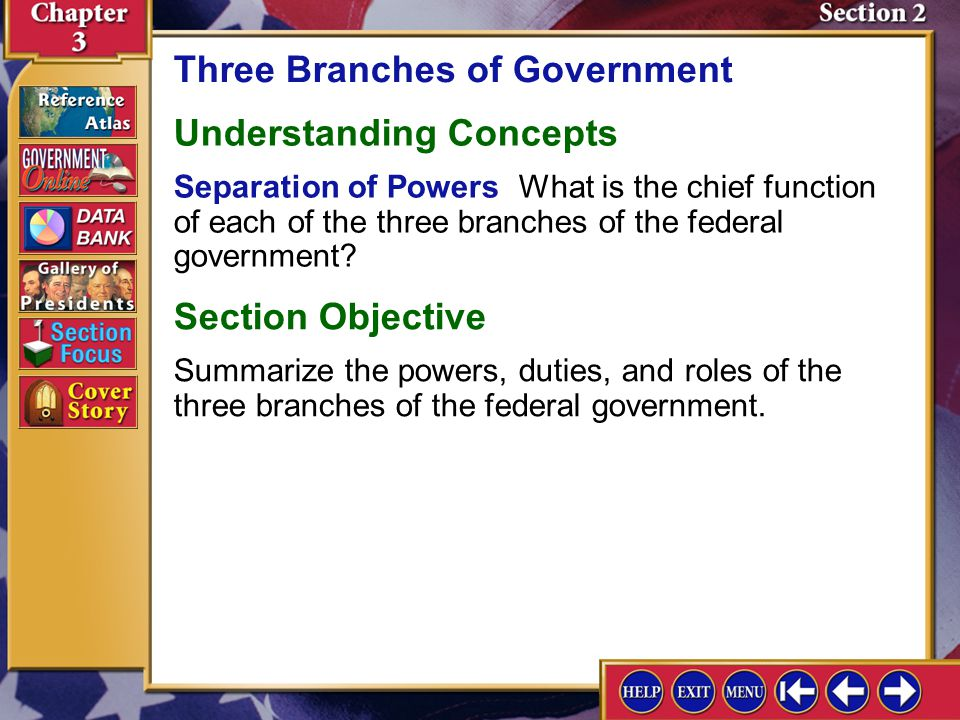 Section 2 Introduction-1 Three Branches of Government Key Terms expressed powers, enumerated powers, elastic clause, federal bureaucracy Find Out Which of the three branches of federal government seems to have the most power today.