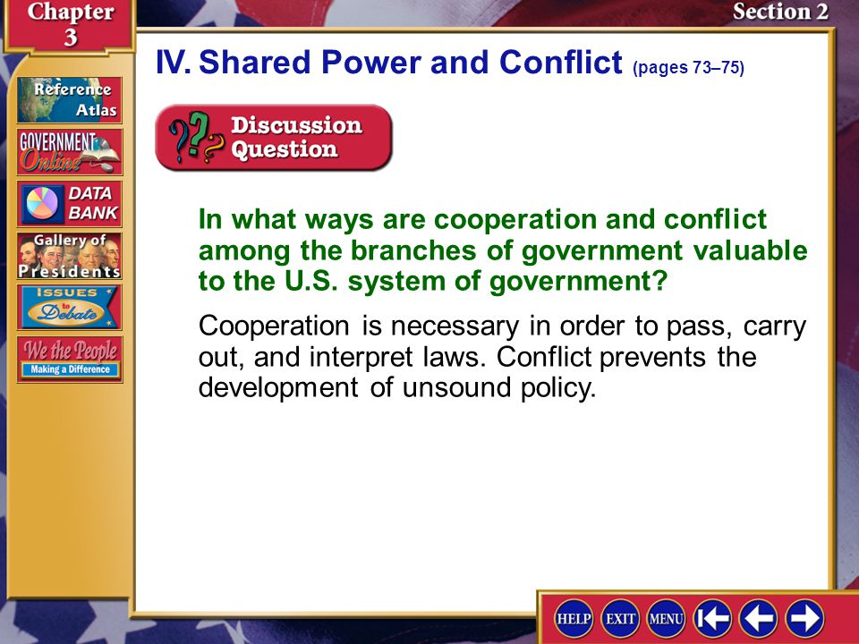 Section 2-8 A.The executive and legislative branches must cooperate to produce effective policies, but some conflicts are inevitable. IV.Shared Power