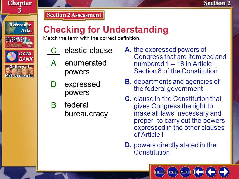 Section 2 Assessment-1 1.Main Idea Using a Venn diagram, analyze the different functions of the president and Congress in passing legislation and the