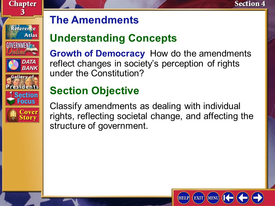 Section 4 Introduction-1 The Amendments Key Terms prior restraint, probable cause, search warrant, arrest warrant, due process of law, eminent domain, lame duck, poll tax Find Out How do the amendments to the Constitution show the development of democracy in the United States.