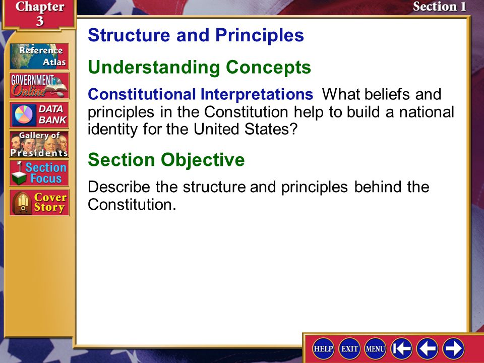 Section 1 Introduction-1 Structure and Principles Key Terms article, jurisdiction, supremacy clause, amendment, popular sovereignty, federalism, separation of powers, checks and balances, veto, judicial review Find Out How did the Founders hope to prevent any one branch of government from gaining too much power.