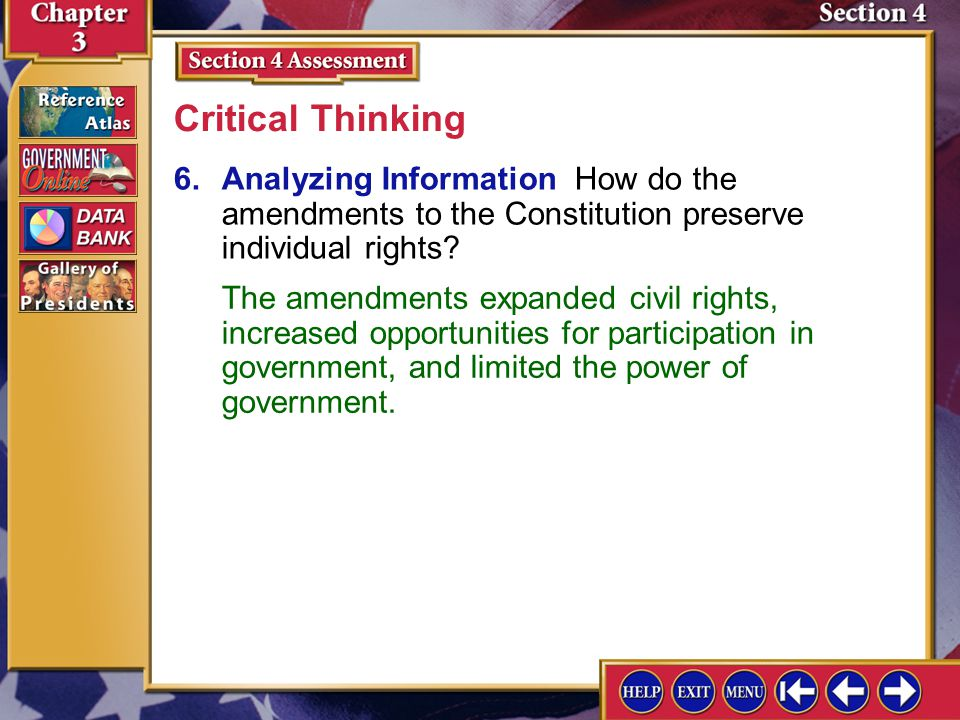 Section 4 Assessment-5 5.Identify the twentieth-century amendments that deal with voting rights. Checking for Understanding The Nineteenth, Twenty-thi