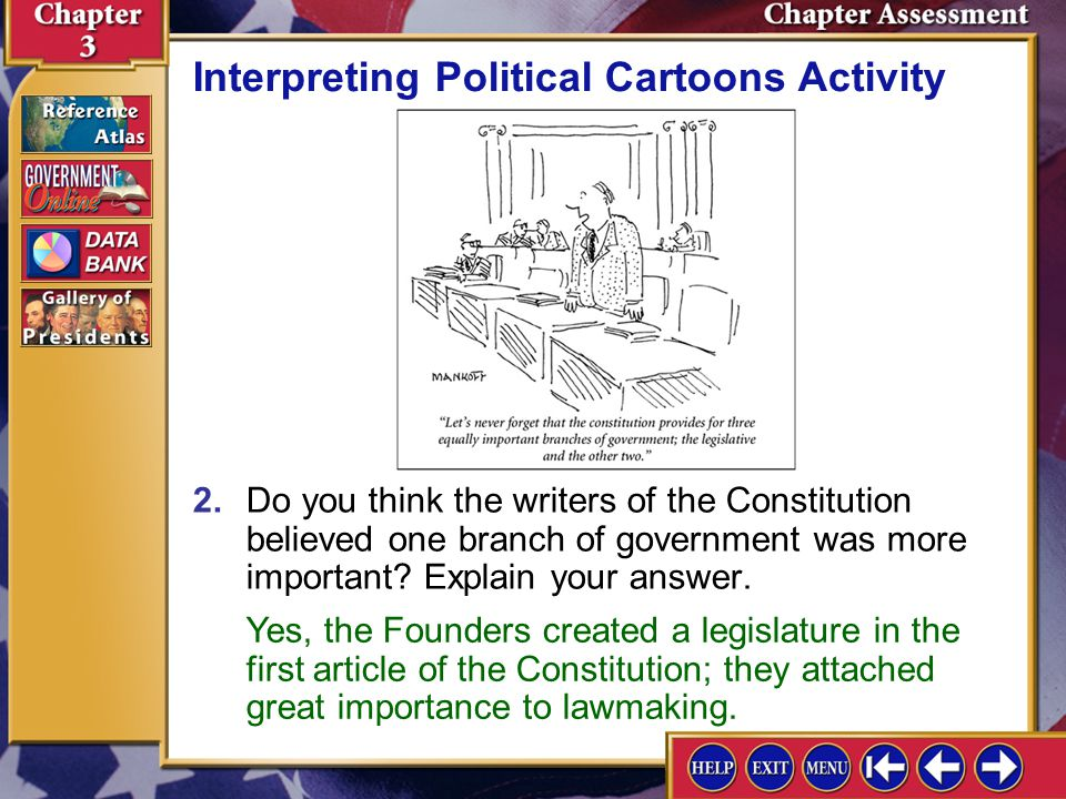 Chapter Assessment 11 1.Which branch of government does the cartoonist imply is the most important.