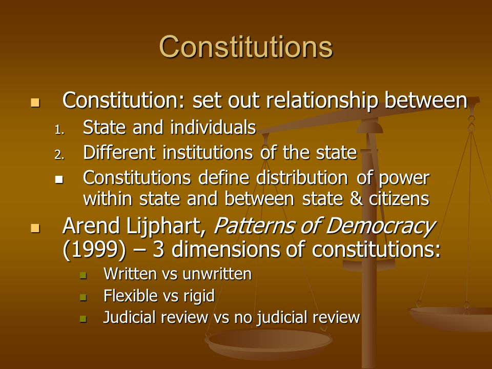 Constitutions Constitution: set out relationship between Constitution: set out relationship between 1. State and individuals 2. Different institutions