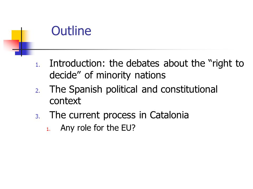 Outline 1. Introduction: the debates about the right to decide of minority nations 2.