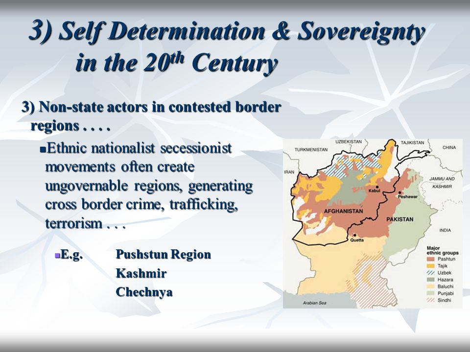 3) Self Determination & Sovereignty in the 20 th Century 3) Non-state actors in contested border regions.... Ethnic nationalist secessionist movements