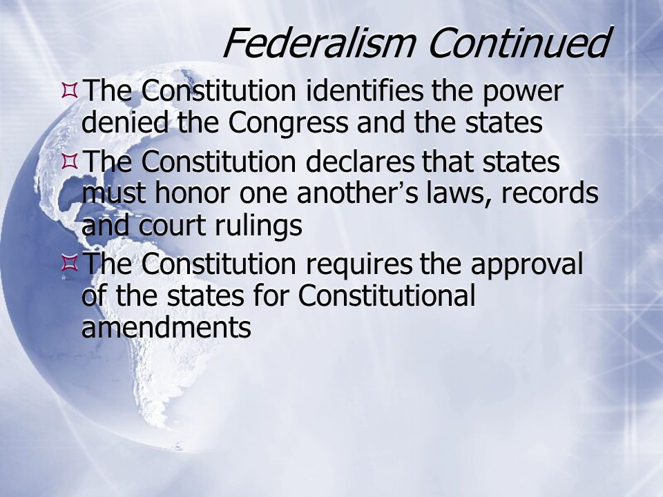 Separation of Powers  The division of basic government roles into different branches with no one branch having all the power  The first three articles of the Constitution state how powers are split among the three branches of government  Congress makes the laws, and the President enforces them and the judiciary interprets them  The President is the commander of the armed forces, but only Congress can declare war  The division of basic government roles into different branches with no one branch having all the power  The first three articles of the Constitution state how powers are split among the three branches of government  Congress makes the laws, and the President enforces them and the judiciary interprets them  The President is the commander of the armed forces, but only Congress can declare war