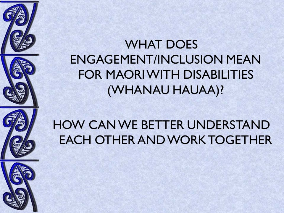 Kaupapa Maori The exploration of traditional concepts for M ā ori with disabilities includes understanding and incorporating kaupapa M ā ori approaches to service delivery and a change in thinking around disability in language and in practice for this group.