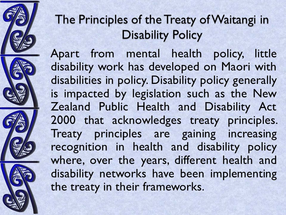 Impact/Effect of the Principles of the Treaty of Waitangi on Disability Policy  While Maori with disabilities are identified as a marginalised group in such documents as the NZDS, the office that addresses disability issues (Office of Disabilities Issues - ODI) does not directly address issues pertaining to Maori with disabilities.