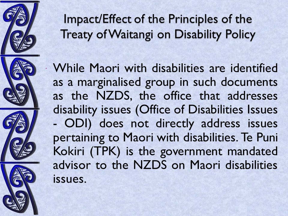The Core Elements The core elements required for Maori with disabilities to have parity with their counterparts and achieve positive outcomes in all areas of disability discourse are these: Government agencies, disability providers and Maori Iwi health providers give Maori with disabilities autonomy in their decision making.