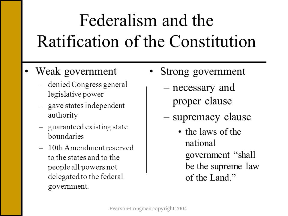 Pearson-Longman copyright 2004 Federalism and the Ratification of the Constitution Weak government –denied Congress general legislative power –gave states independent authority –guaranteed existing state boundaries –10th Amendment reserved to the states and to the people all powers not delegated to the federal government.