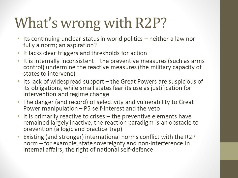 What's wrong with R2P.
