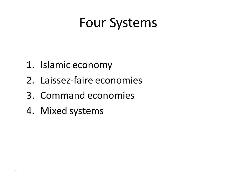 Four Systems 1.Islamic economy 2.Laissez-faire economies 3.Command economies 4.Mixed systems 4
