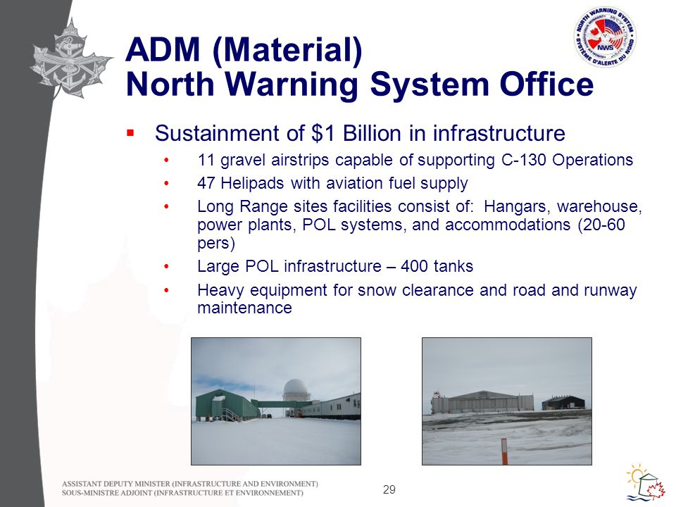 29 ADM (Material) North Warning System Office  Sustainment of $1 Billion in infrastructure 11 gravel airstrips capable of supporting C-130 Operations 47 Helipads with aviation fuel supply Long Range sites facilities consist of: Hangars, warehouse, power plants, POL systems, and accommodations (20-60 pers) Large POL infrastructure – 400 tanks Heavy equipment for snow clearance and road and runway maintenance