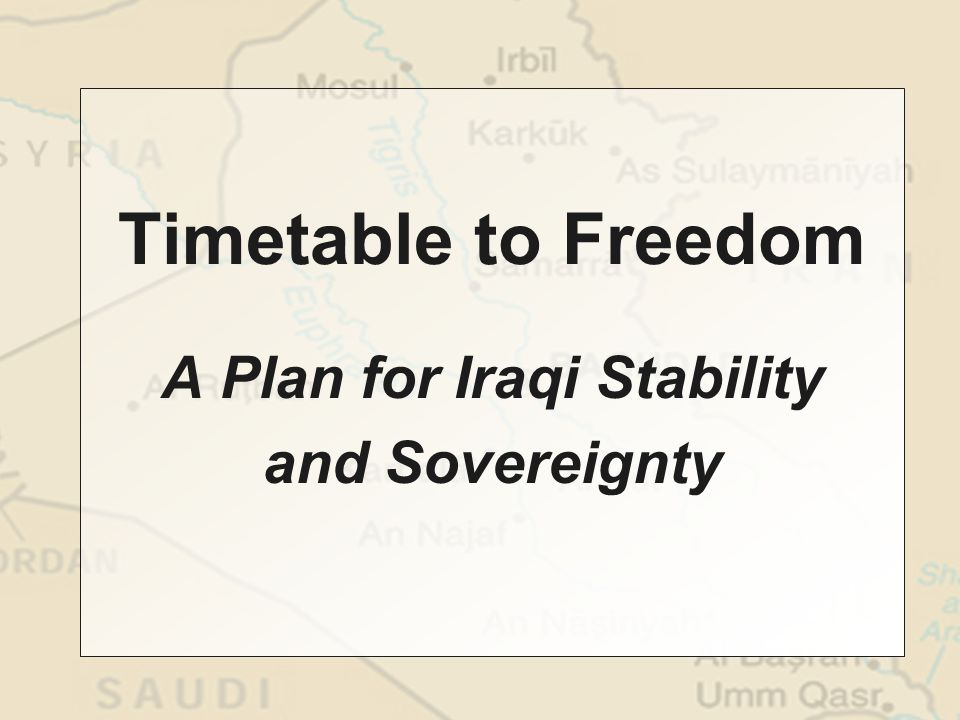 Begin phased troop withdrawals Reestablish Iraqi national army Create an international stabilization force Provide substantial economic assistance