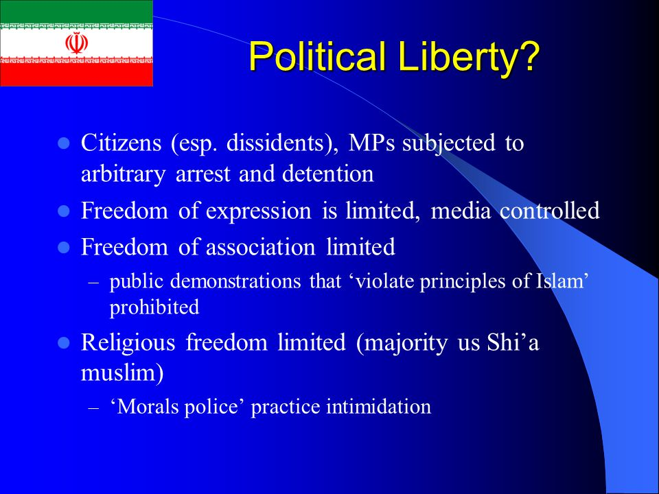 Political Liberty? Citizens (esp. dissidents), MPs subjected to arbitrary arrest and detention Freedom of expression is limited, media controlled Free