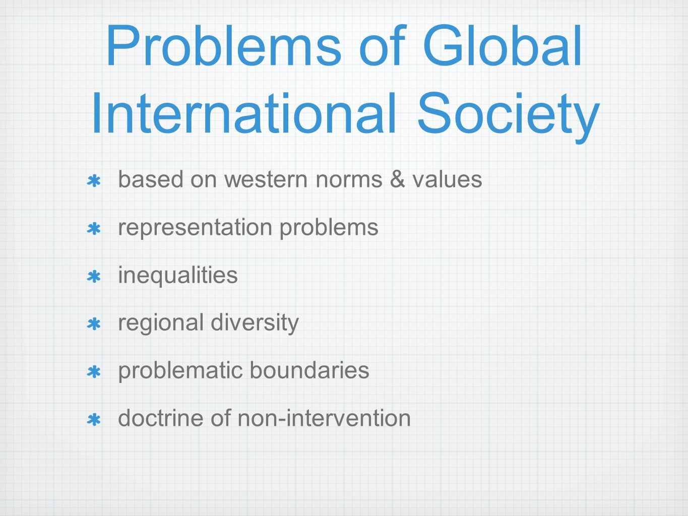 Problems of Global International Society based on western norms & values representation problems inequalities regional diversity problematic boundarie