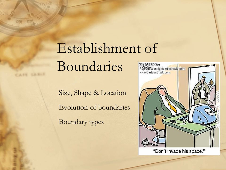 Establishment of Boundaries Size, Shape & Location Evolution of boundaries Boundary types
