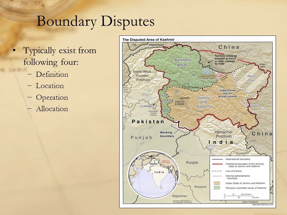 Boundary Disputes Typically exist from following four: −Definition −Location −Operation −Allocation