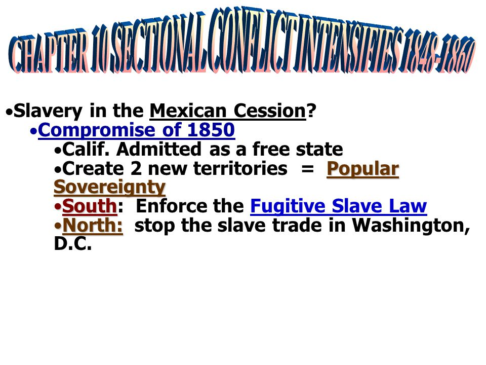  Slavery in the Mexican Cession. Compromise of 1850  Calif.