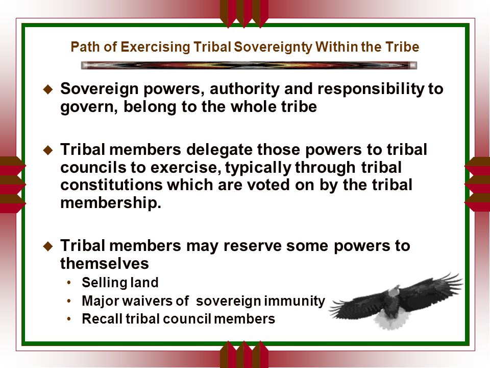 Path of Exercising Tribal Sovereignty Within the Tribe u Sovereign powers, authority and responsibility to govern, belong to the whole tribe u Tribal members delegate those powers to tribal councils to exercise, typically through tribal constitutions which are voted on by the tribal membership.