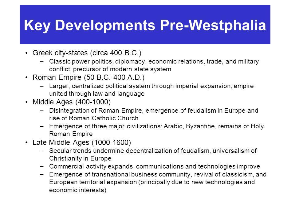 Key Developments Pre-Westphalia Greek city-states (circa 400 B.C.) –Classic power politics, diplomacy, economic relations, trade, and military conflic