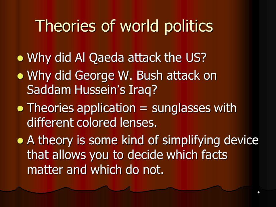 4 Theories of world politics Why did Al Qaeda attack the US.