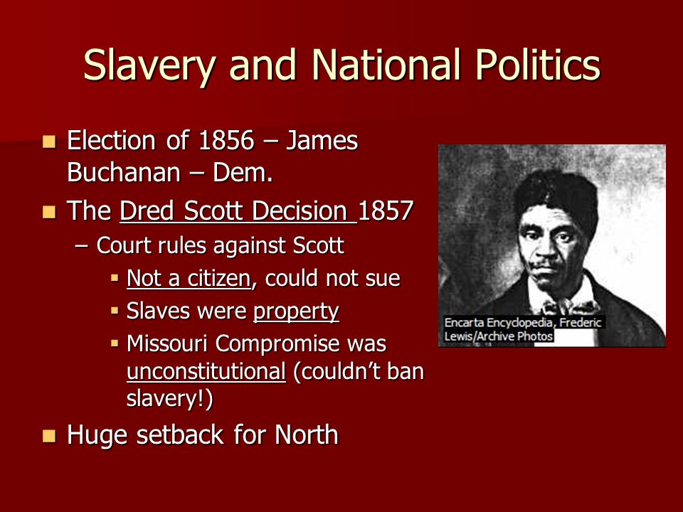 Slavery and National Politics Election of 1856 – James Buchanan – Dem.