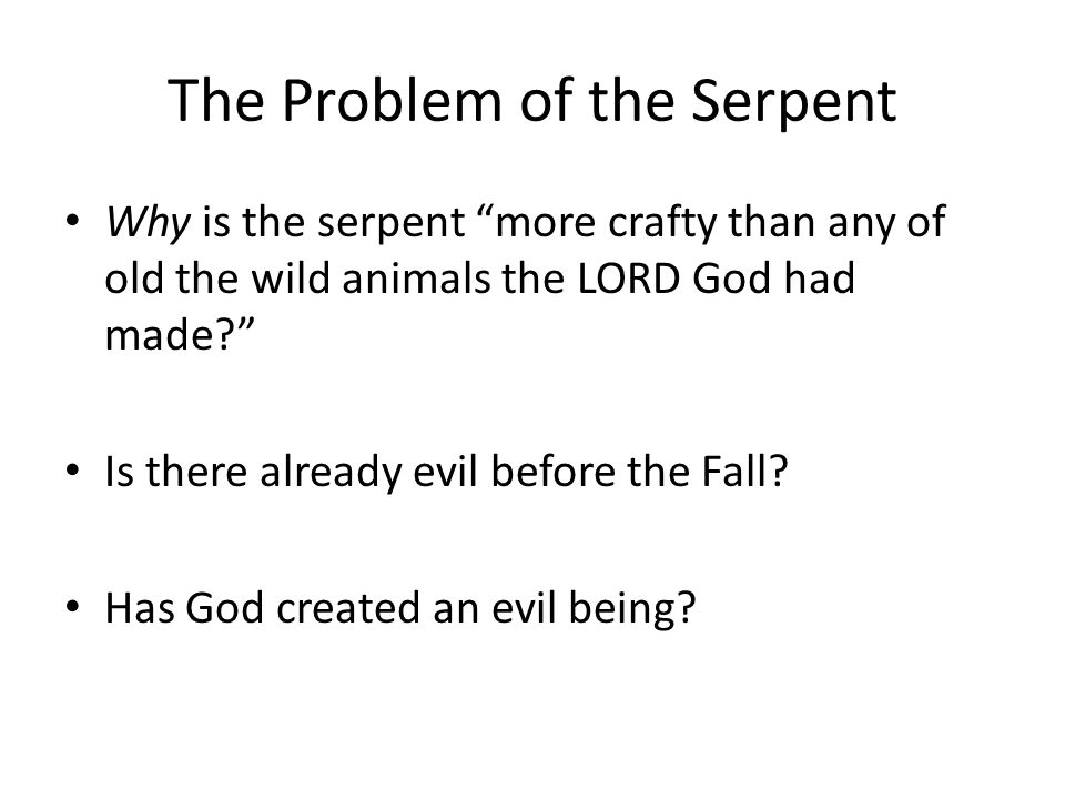 The Problem of the Serpent Why is the serpent more crafty than any of old the wild animals the LORD God had made? Is there already evil before the Fall.