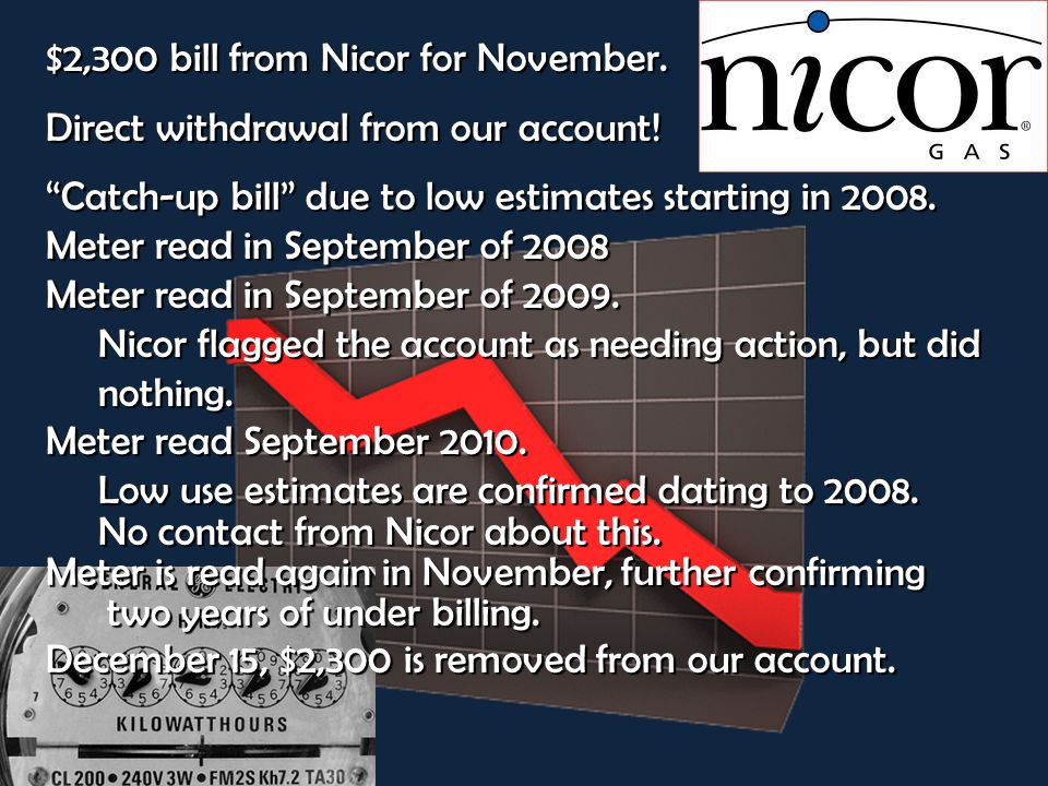 $2,300 bill from Nicor for November. Direct withdrawal from our account.