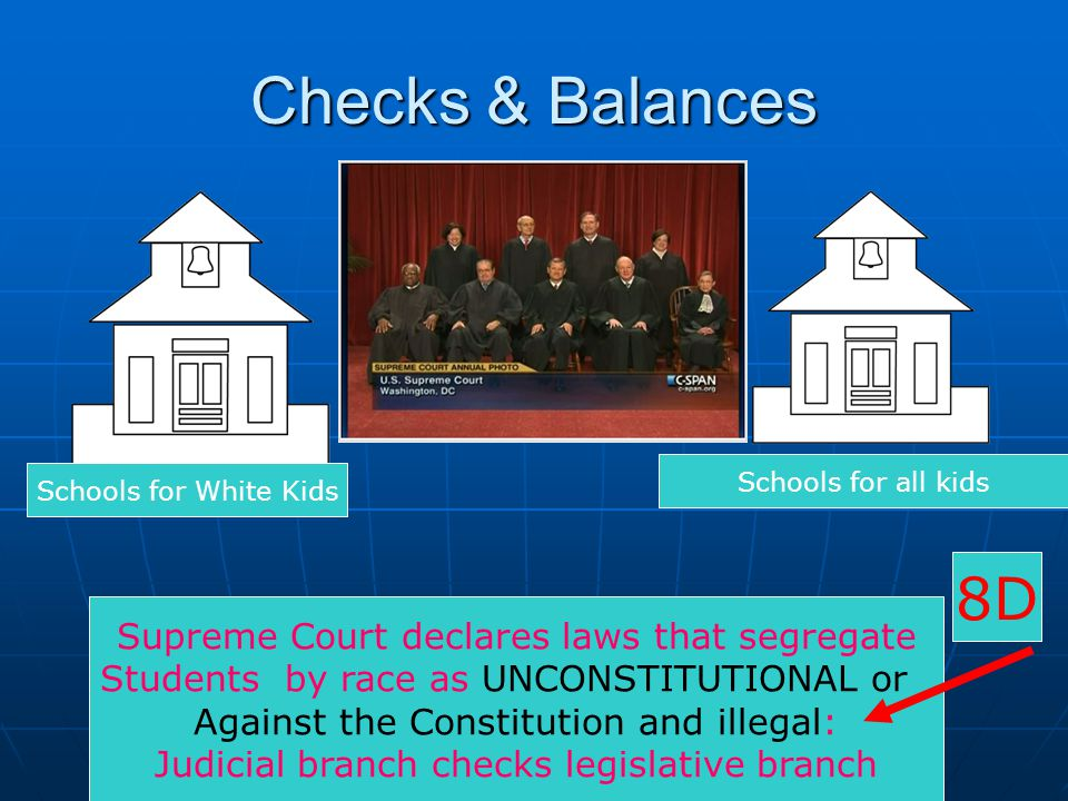 Checks & Balances Supreme Court declares laws that segregate Students by race as UNCONSTITUTIONAL or Against the Constitution and illegal: Judicial br