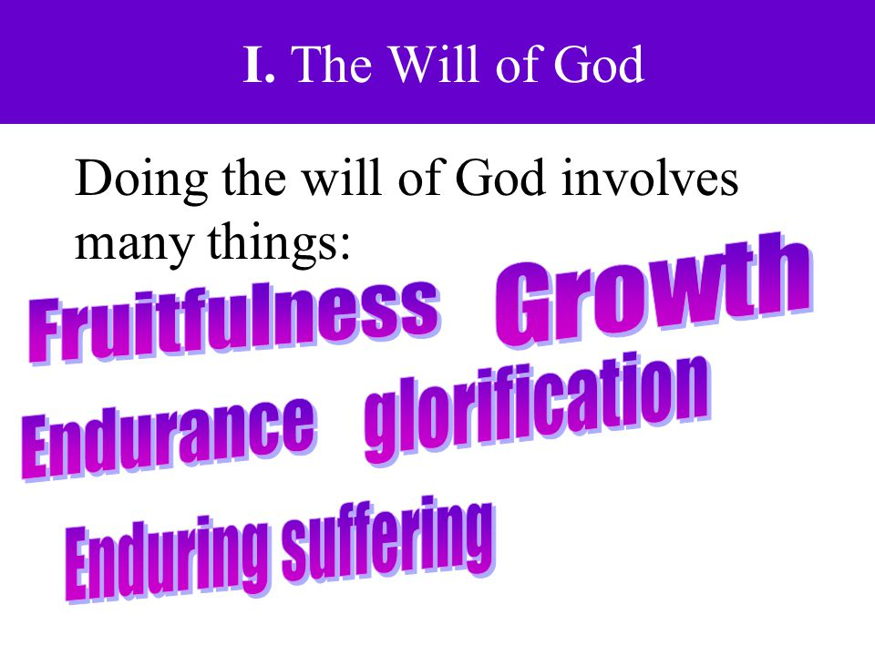 I. The Will of God Doing the will of God involves many things: