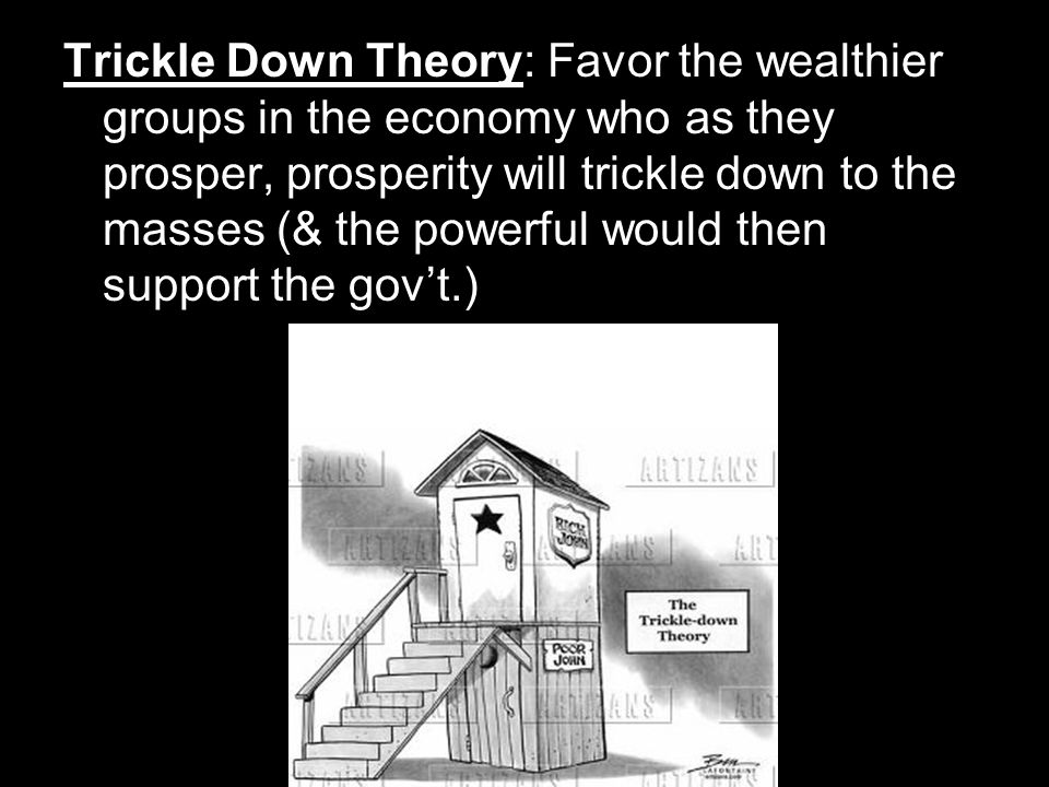 Trickle Down Theory: Favor the wealthier groups in the economy who as they prosper, prosperity will trickle down to the masses (& the powerful would then support the gov't.)
