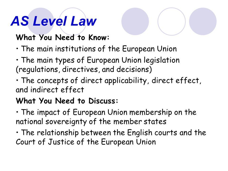 AS Level Law Useful Websites: BBC News A-Z of Europe – http://news.bbc.co.uk/1/hi/in_depth/europe/euro- glossary/default.stm http://news.bbc.co.uk/1/hi/in_depth/europe/euro- glossary/default.stm Information on the EU on the Europa website – http://europa.eu.int/institutions/index_en.htm http://europa.eu.int/institutions/index_en.htm University of California, Berkeley, Library European Union Internet Resources – www.lib.berkeley.edu/doemoff/gov_eu.html www.lib.berkeley.edu/doemoff/gov_eu.html For more information on the European Court of Justice, visit http://europa.eu.int/cj/en/index.htmhttp://europa.eu.int/cj/en/index.htm