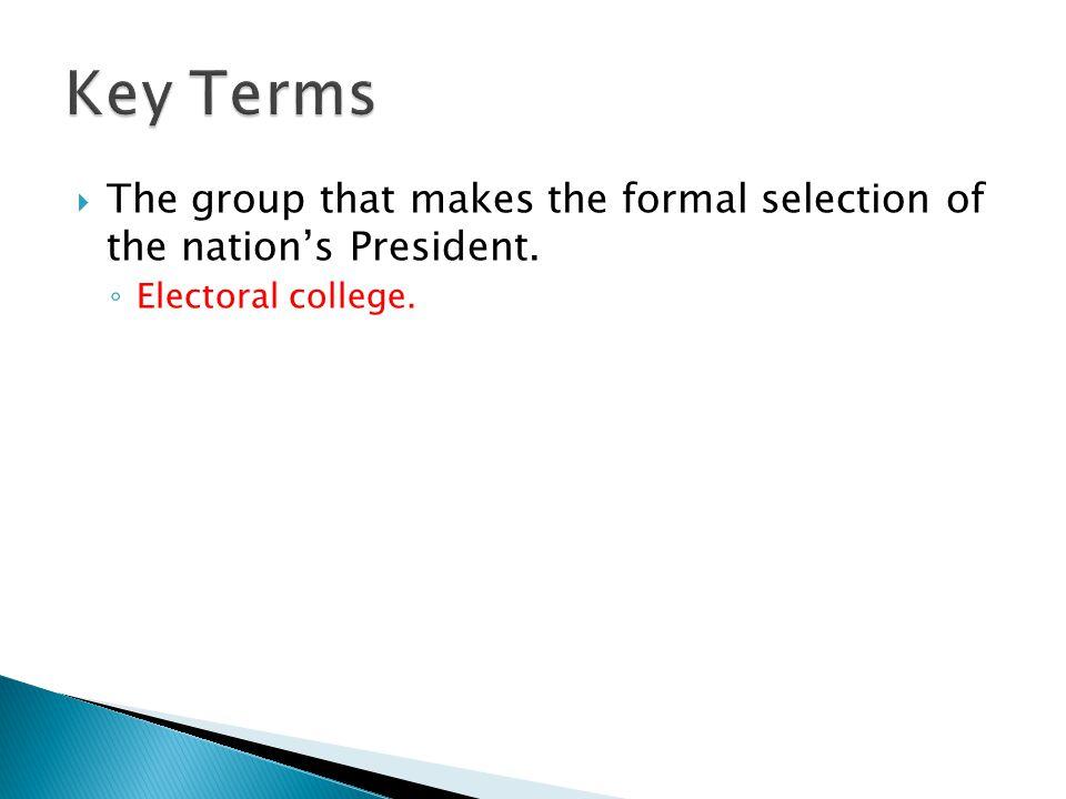 ◦ Electoral college.