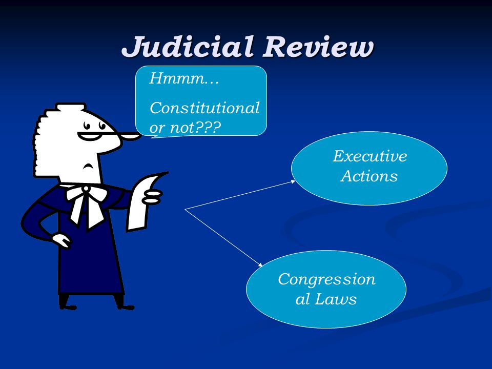 Judicial Review Hmmm… Constitutional or not??? Executive Actions Congression al Laws