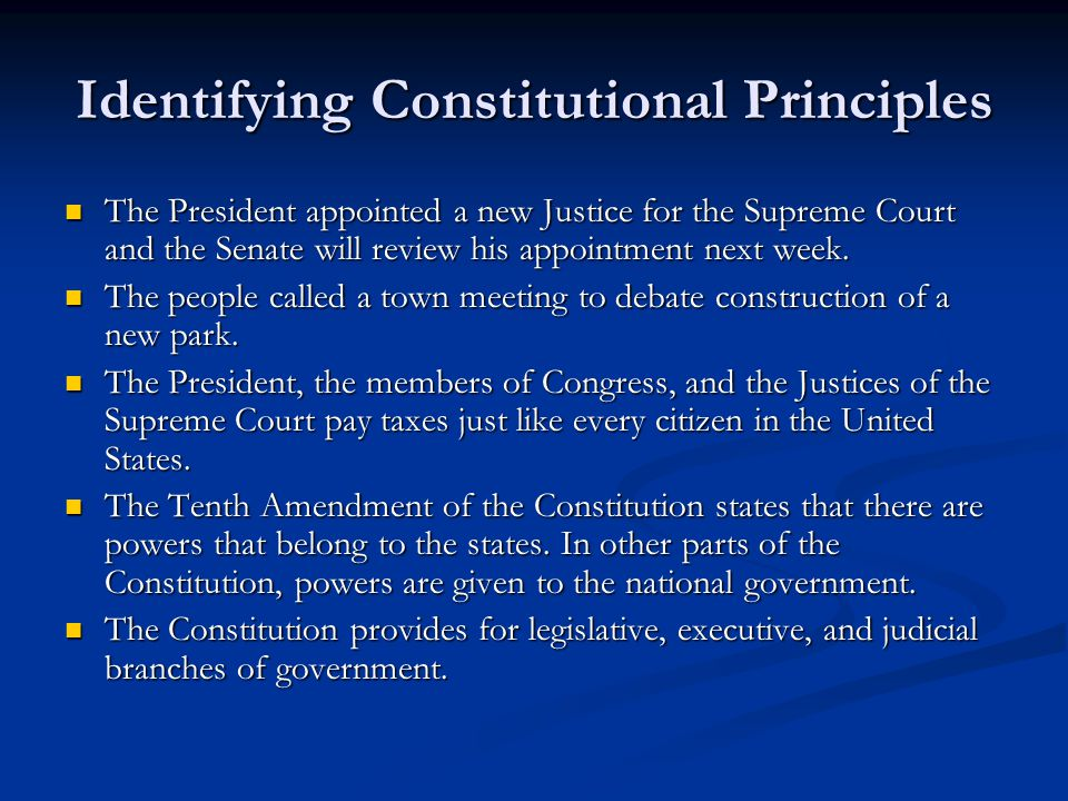 Identifying Constitutional Principles The President appointed a new Justice for the Supreme Court and the Senate will review his appointment next week