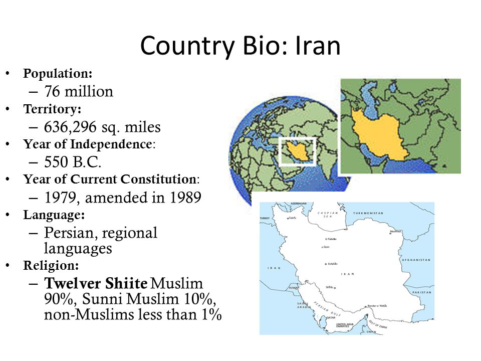 Country Bio: Iran Population: – 76 million Territory: – 636,296 sq. miles Year of Independence : – 550 B.C. Year of Current Constitution : – 1979, ame