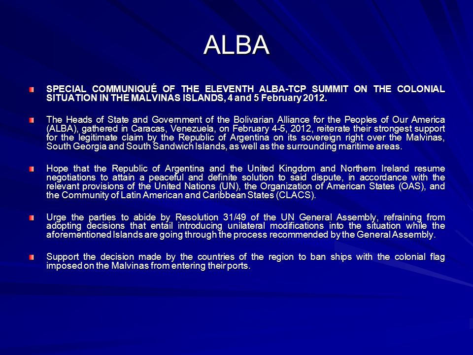 ALBA SPECIAL COMMUNIQUÉ OF THE ELEVENTH ALBA-TCP SUMMIT ON THE COLONIAL SITUATION IN THE MALVINAS ISLANDS, 4 and 5 February 2012.