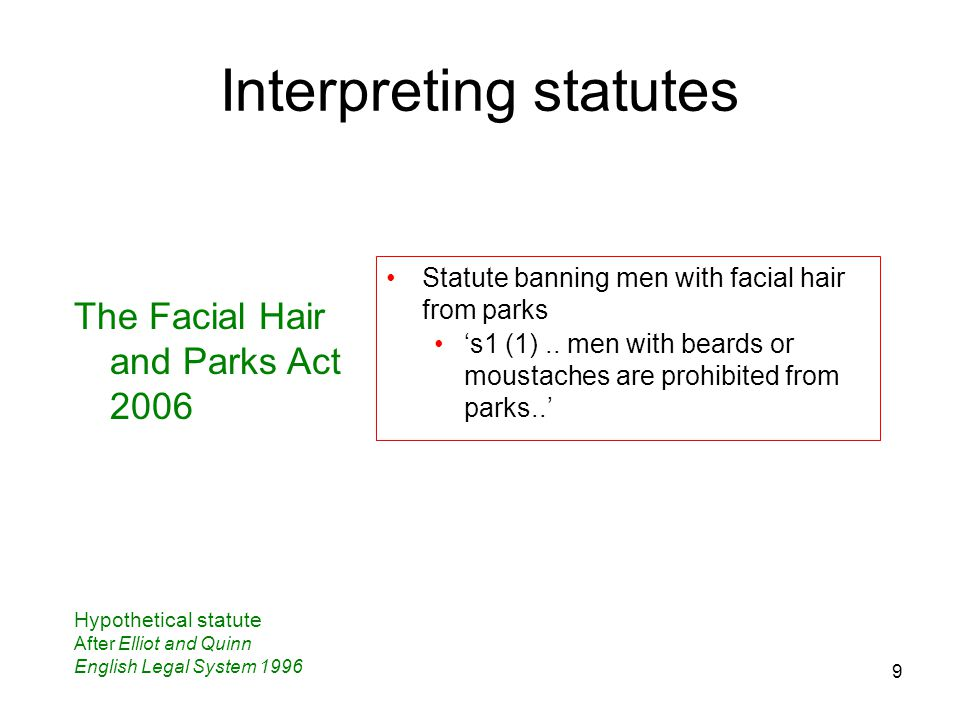 9 Interpreting statutes The Facial Hair and Parks Act 2006 Hypothetical statute After Elliot and Quinn English Legal System 1996 Statute banning men w
