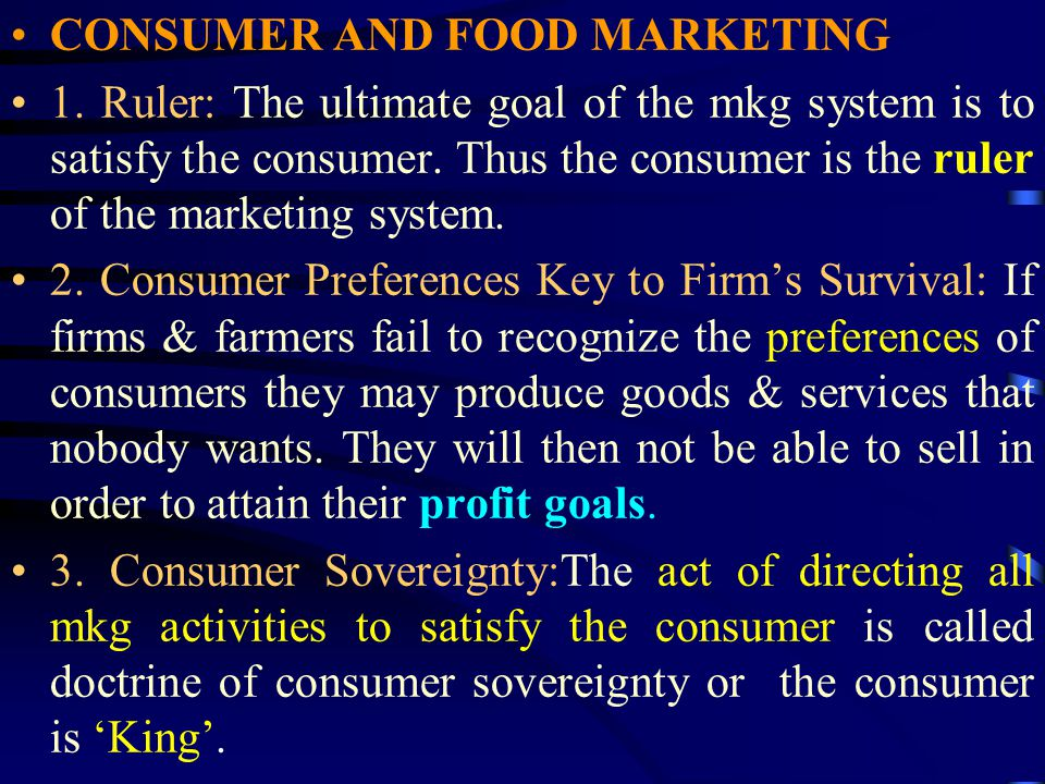 CONSUMER AND FOOD MARKETING 1.