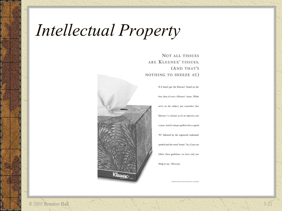 © 2005 Prentice Hall5-21 Intellectual Property