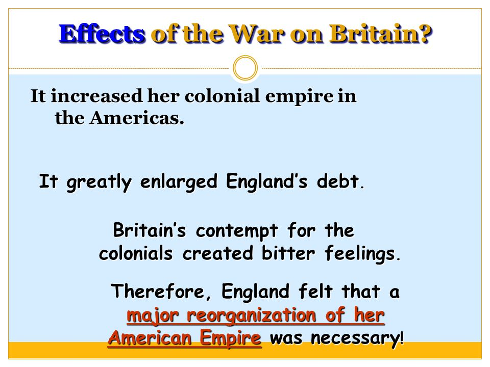 Effects of the War on Britain. It increased her colonial empire in the Americas.