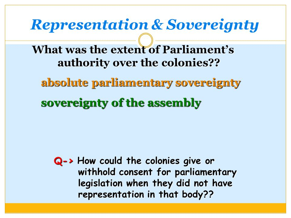 Representation & Sovereignty What was the extent of Parliament's authority over the colonies .