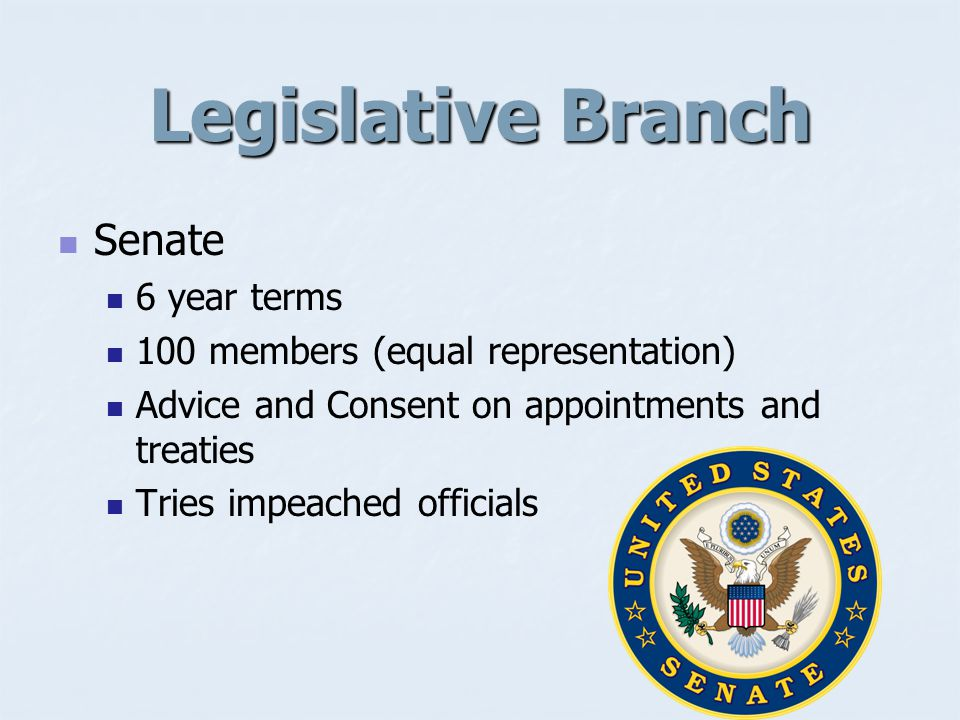 Legislative Branch House of Representatives 2 year terms 435 members (proportional representation) Initiates all money bills (taxation and spending) Initiates impeachment proceedings